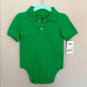 NWT - Osh Gosh 6-9M Green Pique Polo Bodysuit